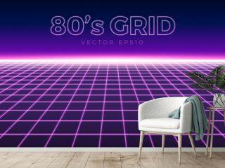 Perspective grid, retro 80s design element, neon colors
