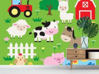 Cute farm animals vector illustration set including cow, horse, pig, llama, hen, chicken, duck, fish, sheep, barn, and tractor. Cute cartoon animals in a ranch.