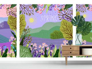 Set of Vector illustration in trendy flat cute style - flowers, trees and nature landscape