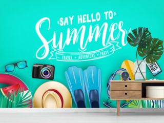 Say Hello to Summer Realistic Vector Banner Top View in Teal Color Background with and Tropical Elements Like Scuba Diving Equipment, Surf Board, Slippers, Digital Camera, Mobile Phone, Hat