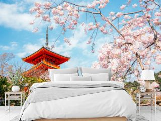 Kiyomizu-dera temple with cherry blossoms at spring in Kyoto, Japan
