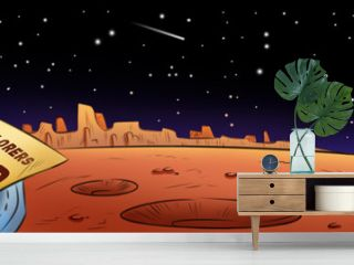 Mars explorers wanted hand drawn comic style cartoon banner. Space exploration, colonization of space