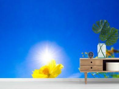 Yellow flower against sunlight on blur bright blue sky background, nature background concept