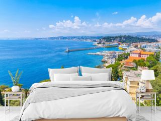 Amazing view of luxury resort Nice on French Riviera at Mediterranean Sea. Nice is famous and popular travel destination and summer recreation spot on Cote d'Azur, France.