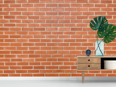 Red color brick wall for brickwork background design . Panorama format .