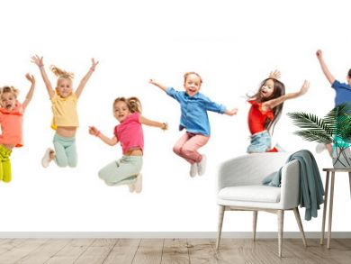 The kids dance school, ballet, hiphop, street, funky and modern dancers on white studio background. Girl is showing aerobic and dance element. Teen in hip hop style. Collage