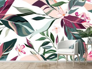 botanic seamless pattern with exotic flowers and leaves, hand drawn background. floral pattern. Tile with tropical leaf