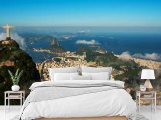 Rio de Janeiro, Brazil: Aerial view of Rio de Janeiro with Christ Redeemer and Corcovado Mountain