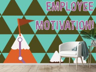 Writing note showing Employee Motivation. Business concept for Energy that a company s is workers bring to their jobs Three Mountains with Hiking Trail and White Snowy Top with Flag