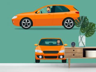 Orange hatchback car two angle set. Car with driver man side view