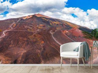 Mountain volcano Etna Sicily, Italy. Panoramic aerial photo