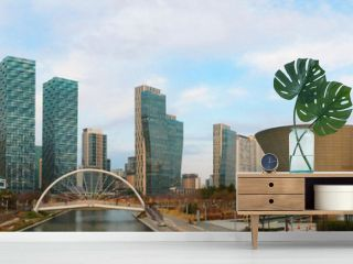 Panorama view of Central park in Songdo International Business District, Incheon South Korea.