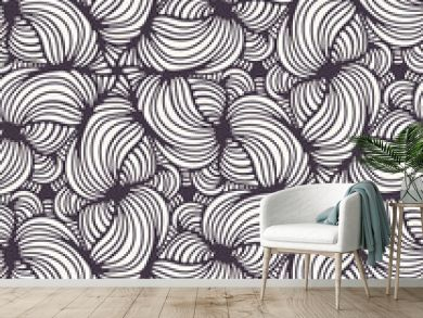 Seamless vector pattern. Modern stylish geometric hand drawn flower blooms. Repeating floral tileable background. Ornamental art deco style. Monochrome surface design textile, all over print wallpaper