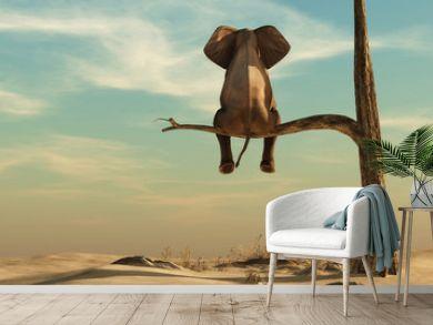 Lonely elephant on tree