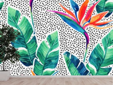 Floral exotic seamless pattern. Watercolor tropical flowers on doodle background