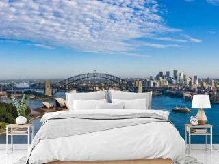 Wide panoramic view of the beautiful city of Sydney, Australia