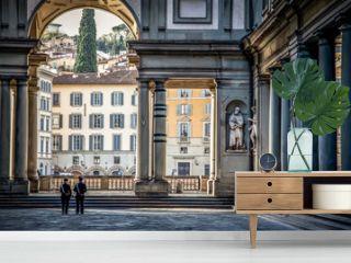 Uffizi Gallery. Piazza degli Uffizi square in the early Sunny autumn morning. Florence, Tuscany, Italy