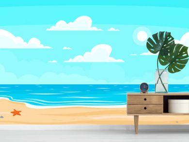 Cartoon summer beach. Paradise nature vacation, ocean or sea seashore. Seaside landscape vector background illustration
