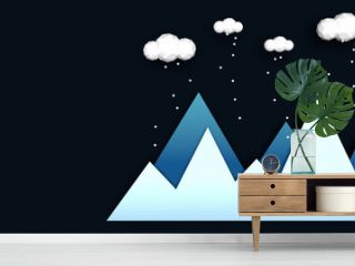 Mountains in winter abstract illustration. Blue gradient mountains with low poly clouds above and falling snow. Concept of winter landscape in night. Modern style usable as christmas greeting card