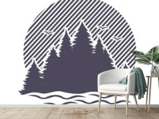 Silhouette of coniferous forest and lake