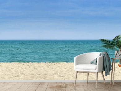 Strandpanorama mit zwei blauweissen Strandkörben