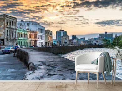 Havana Cuba. Malecon - Havana's famous embankment promenade in Havana, Cuba