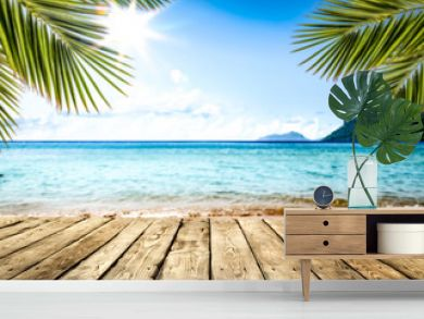 desk of free space and summer beach landscape