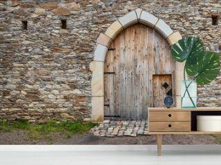 Ancient wooden door in old stone castle wall.