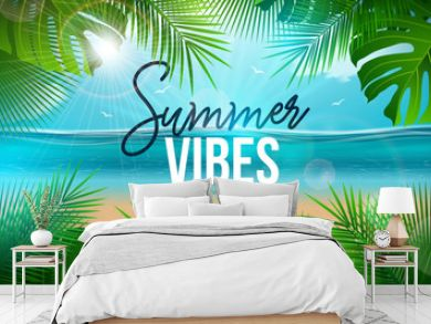 Vector Summer Vibes Illustration with Palm Leaves and Typography Letter on Blue Ocean Landscape Background. Summer Vacation Holiday Design for Banner, Flyer, Invitation, Brochure, Party Poster or