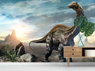 Apatosaurus dinosaur scene 3D illustration