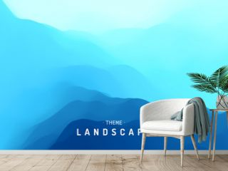 Blue abstract background. Realistic landscape with waves. Cover design template. 3d vector illustration.