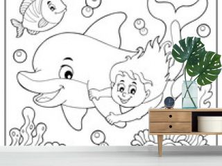 Coloring book girl and dolphin theme 2