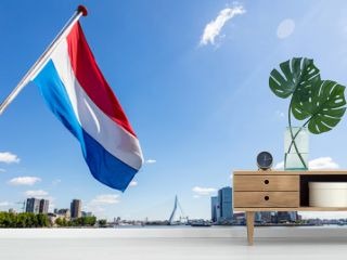Dutch national flag waving on a boat in Rotterdam