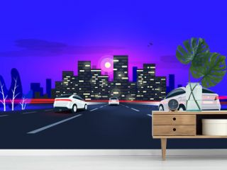 Traffic on the highway panoramic perspective horizon vanishing point view. Vector cartoon style illustration urban landscape street with cars, night skyline city buildings and road going to the city.