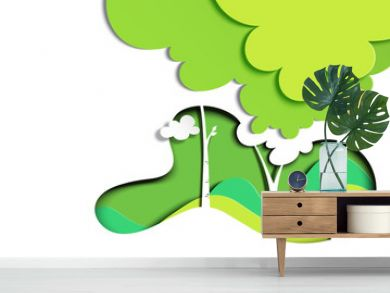 Green nature landscape background template paper art style.Environment and ecology conservation concept.Vector illustration.
