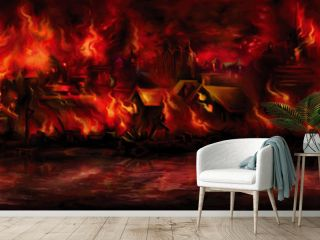 Banner with a medieval town aflame/ Illustration night scape with a fantasy town ashore on fire