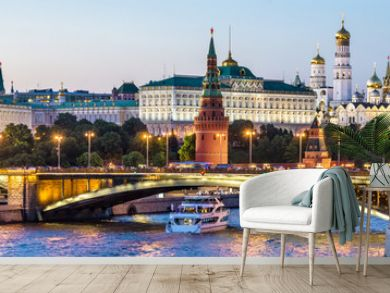 Moscow Kremlin at night, Russia. Panoramic view of city. Cityscape with Moskva River in evening.