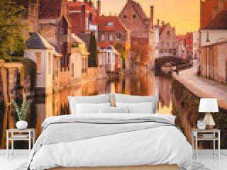 Historic city of Brugge at sunrise, Flanders, Belgium