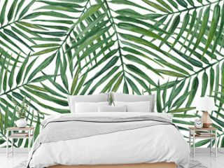 Watercolor background with palm leaves.