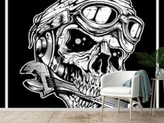 vintage grunge style skull the skull bites the wrench