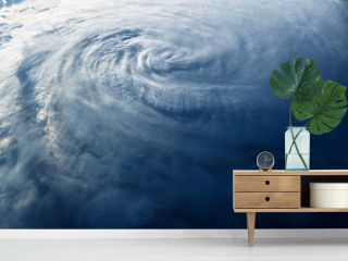 Huge typhoon, view from space, from a space station.  Elements of this image were furnished by NASA