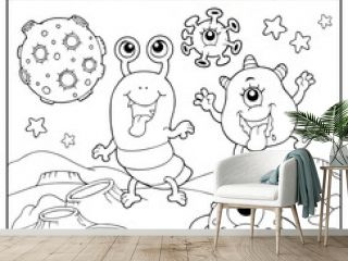 Coloring book monsters in space theme 2