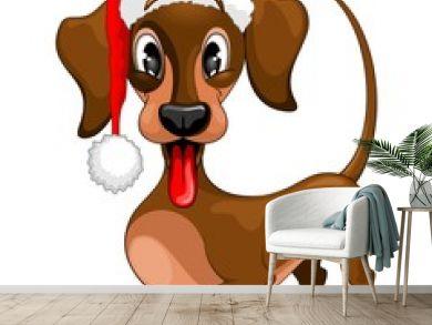 Dachshund Christmas Santa Cute Cartoon Character Vector Illustration