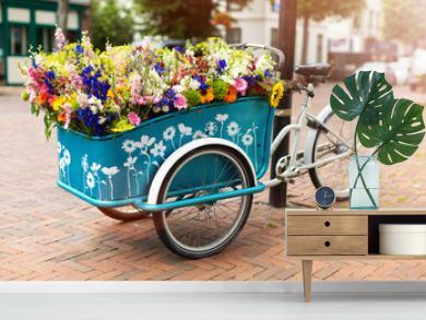 Cargo bike with flowers, Holland, Europe