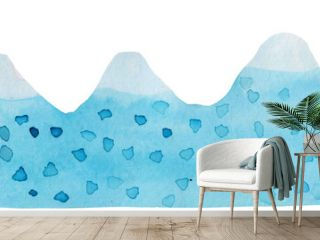 watercolor contours of mountains of blue color with spots on a white background. abstract mountains with snow caps for prints and posters