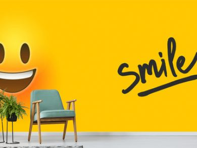 Happy 3d smiley face icon with smile text quote