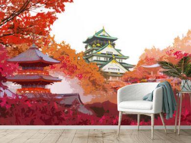 Autumn japan travel concept, Art of beautiful autumn season with landmark famous place of Osaka castle, Daigo ji temple, red pagoda of Kiyomizu temple in Kyoto and Osaka, Japan
