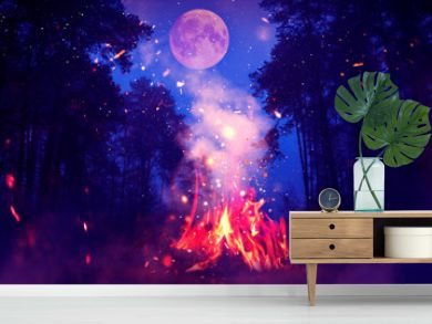Night forest, landscape. Bonfire in the forest, big moon. Moonlight neon