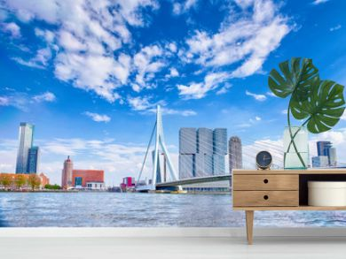 Attractive View of Renowned Erasmusbrug (Swan Bridge) in  Rotterdam in front of Port and Harbour. Picture Made At Day.