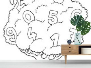 Coloring book tree with numbers theme 1